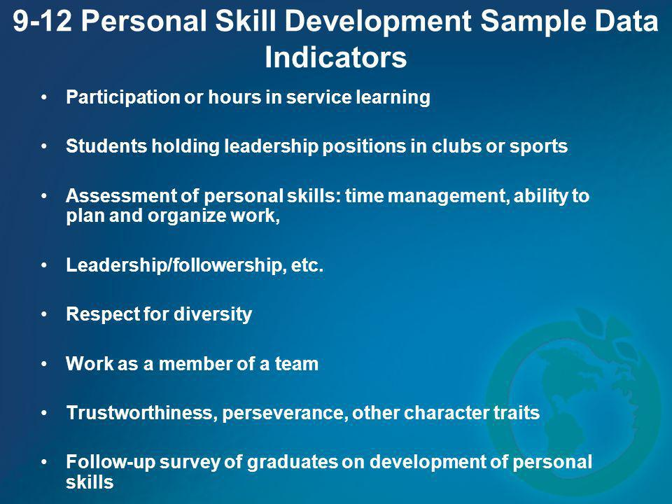 9-12 Personal Skill Development Sample Data Indicators