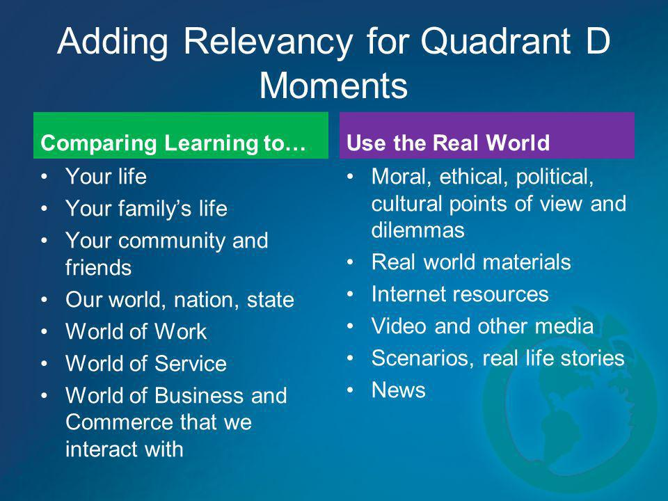 Adding Relevancy for Quadrant D Moments