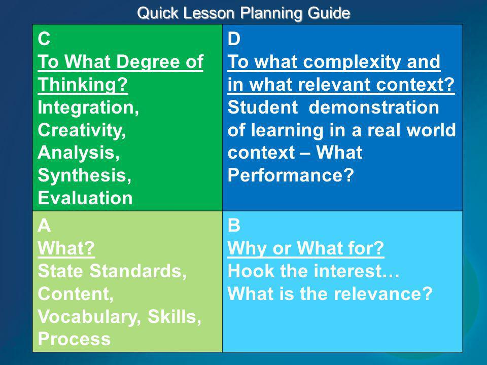 Quick Lesson Planning Guide