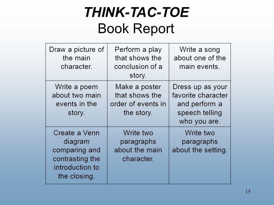 THINK-TAC-TOE Book Report Draw a picture of the main character.