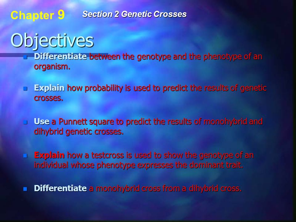 Objectives Chapter 9 Section 2 Genetic Crosses