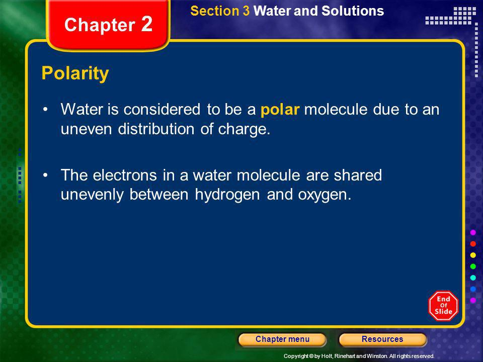 Section 3 Water and Solutions
