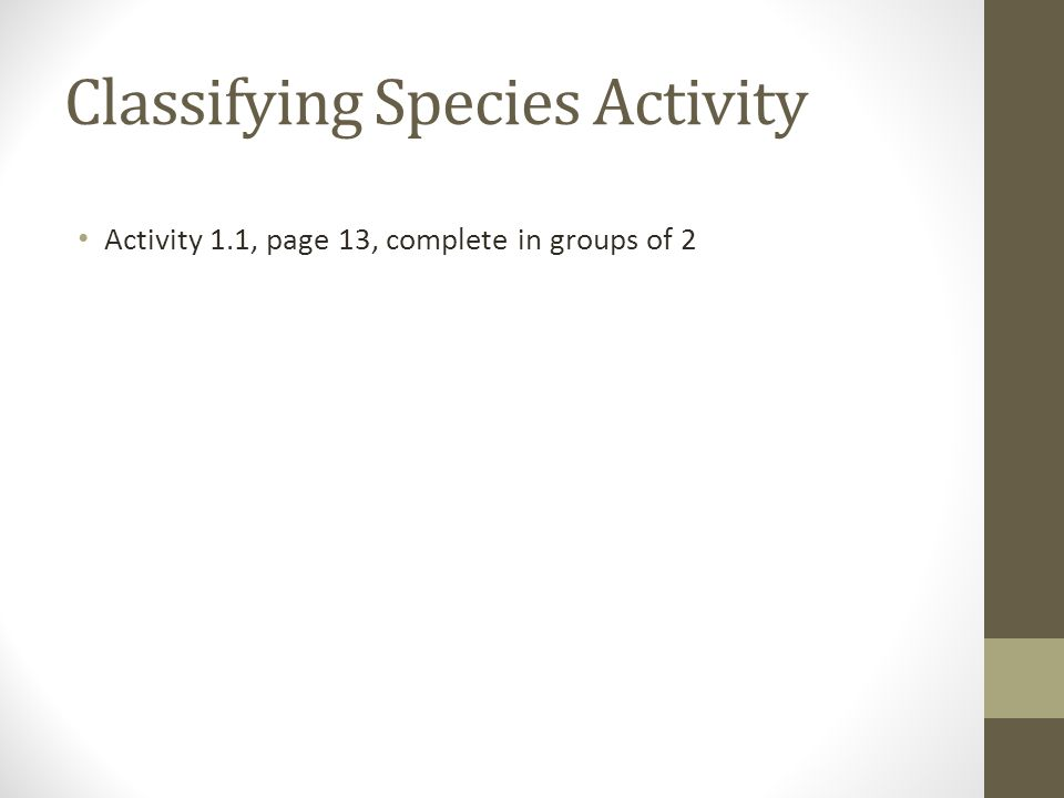 Classifying Species Activity