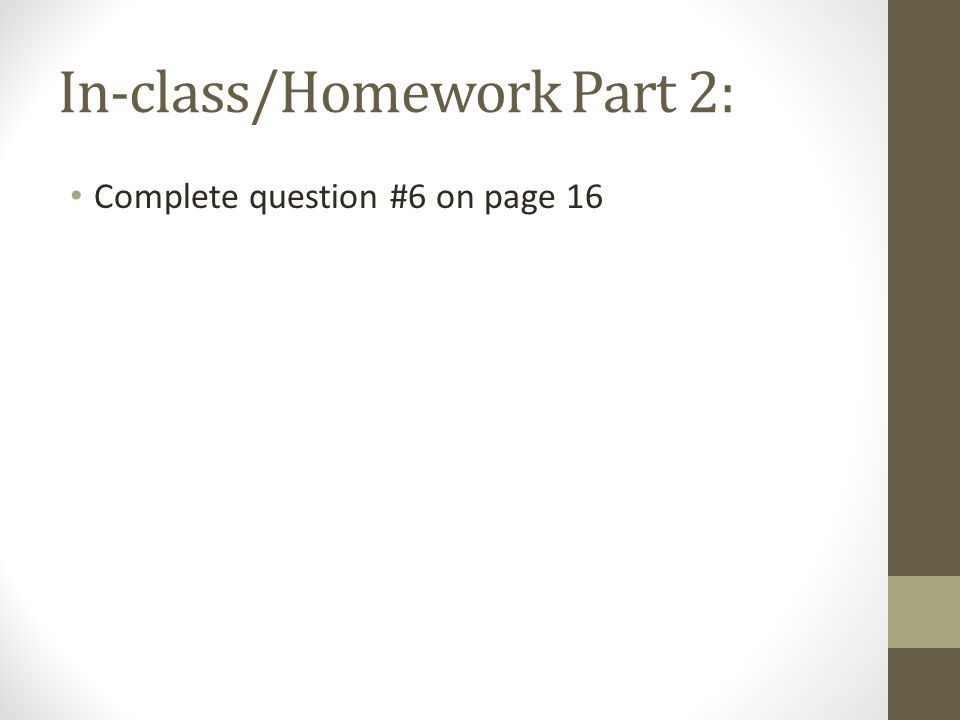 In-class/Homework Part 2: