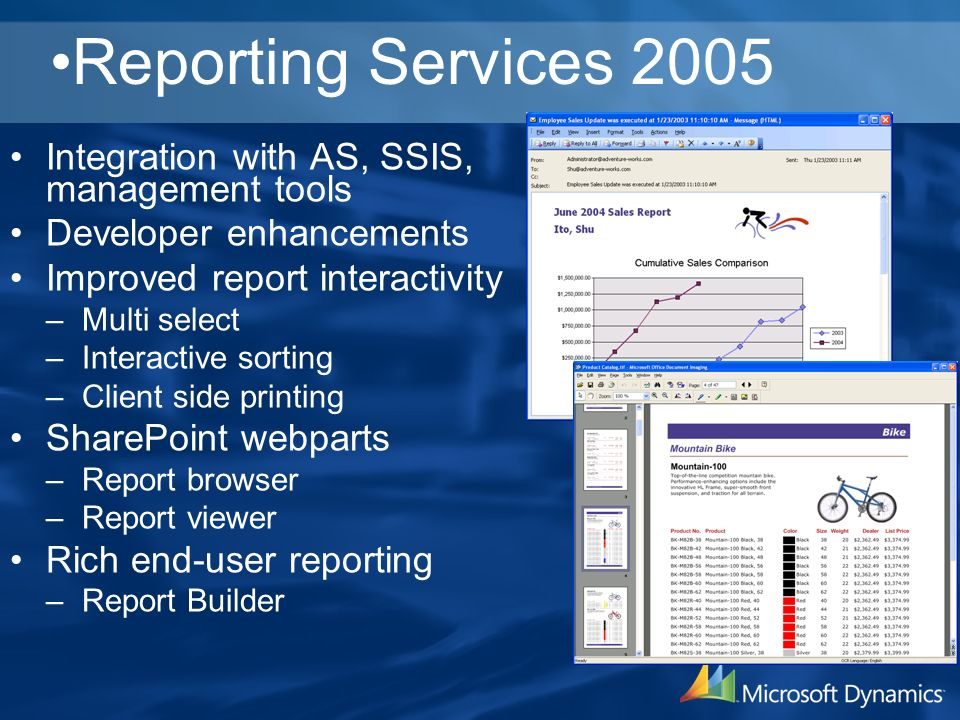 Reporting Services 2005 Integration with AS, SSIS, management tools