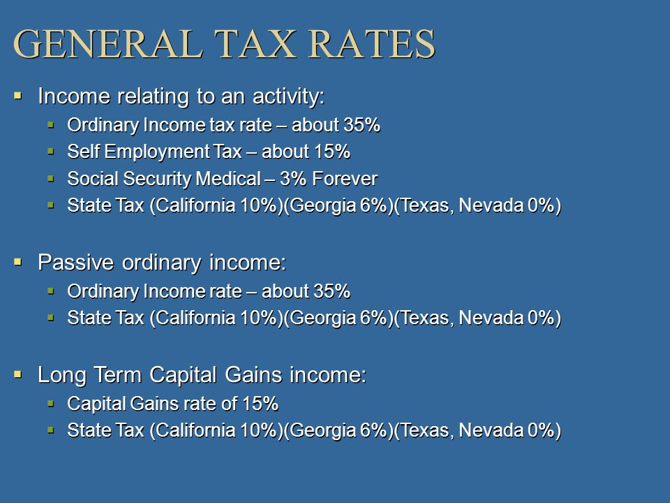 GENERAL TAX RATES Income relating to an activity: