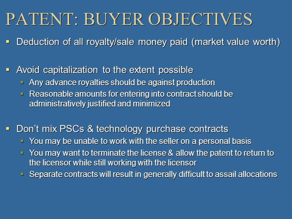 PATENT: BUYER OBJECTIVES