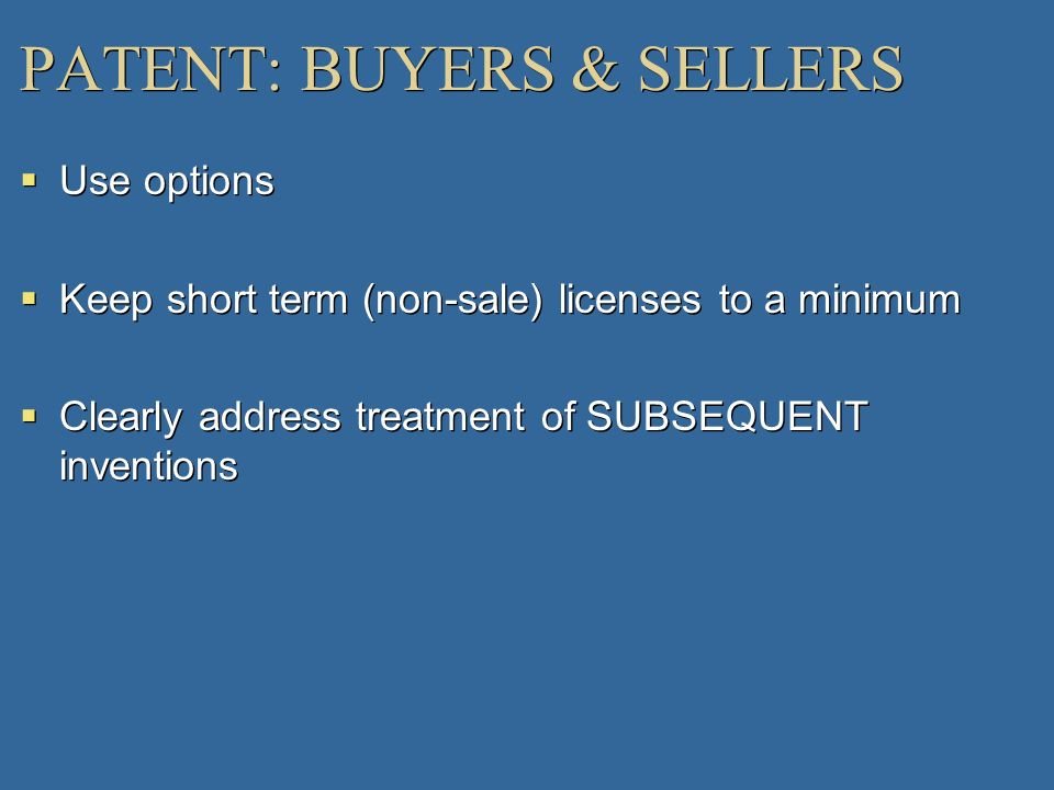 PATENT: BUYERS & SELLERS