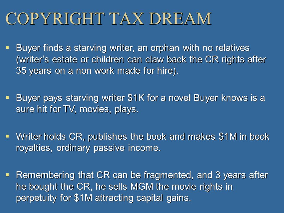 COPYRIGHT TAX DREAM