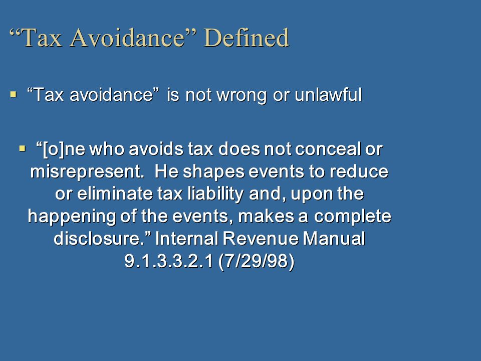 Tax Avoidance Defined