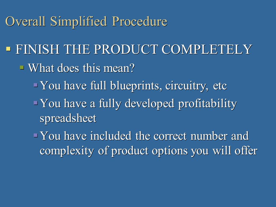 Overall Simplified Procedure