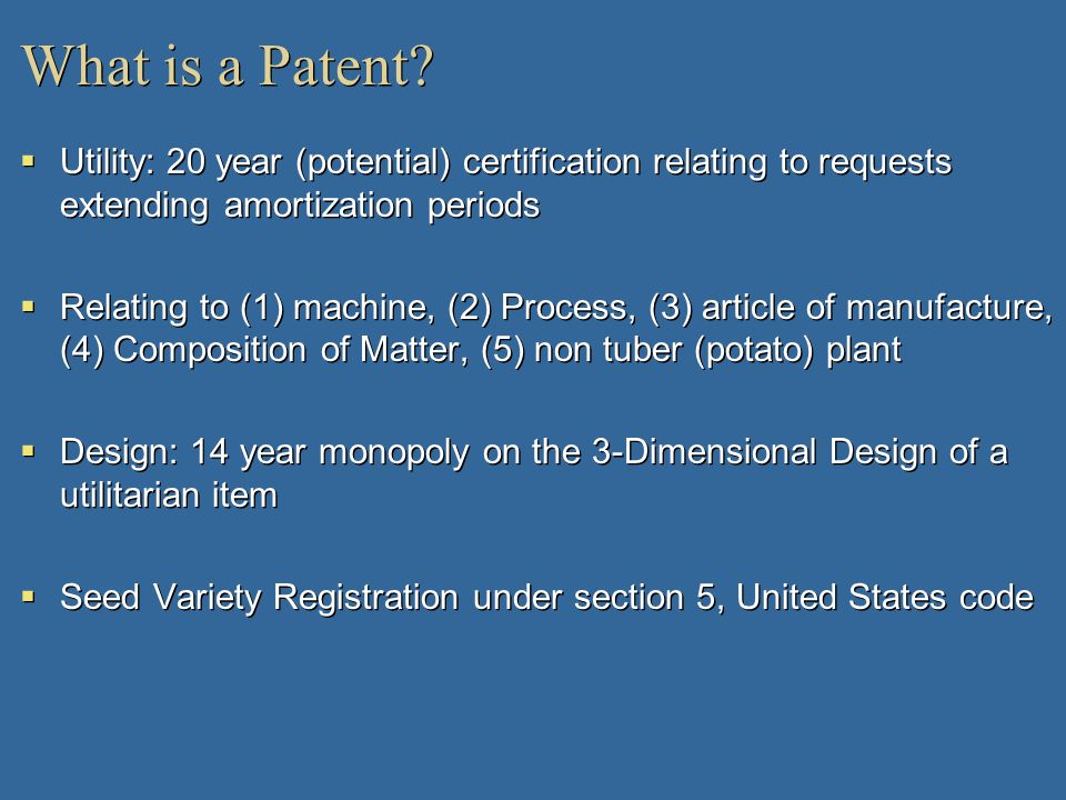 What is a Patent Utility: 20 year (potential) certification relating to requests extending amortization periods.