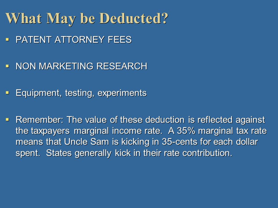 What May be Deducted PATENT ATTORNEY FEES NON MARKETING RESEARCH