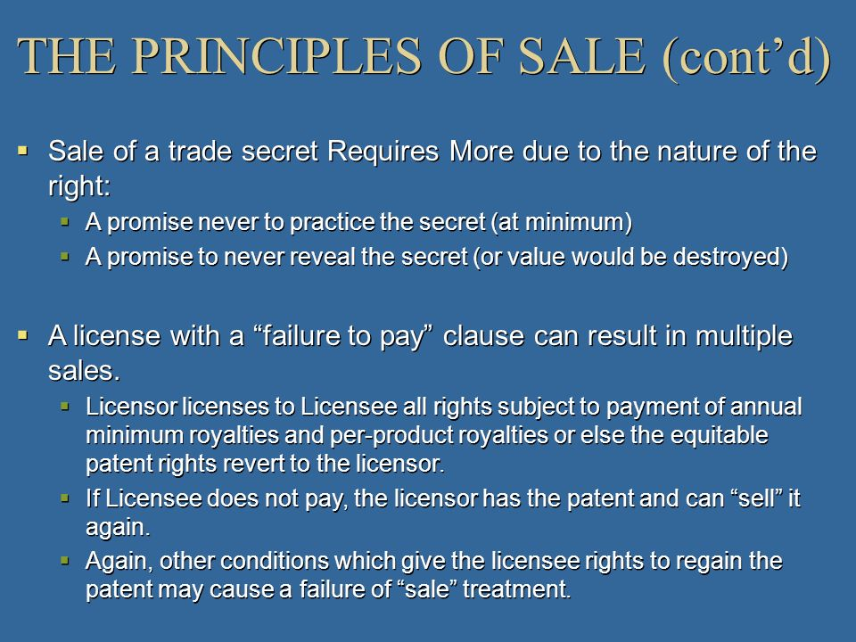 THE PRINCIPLES OF SALE (cont'd)