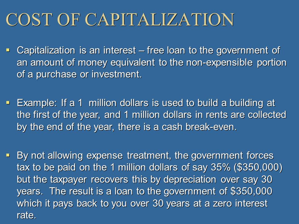 COST OF CAPITALIZATION
