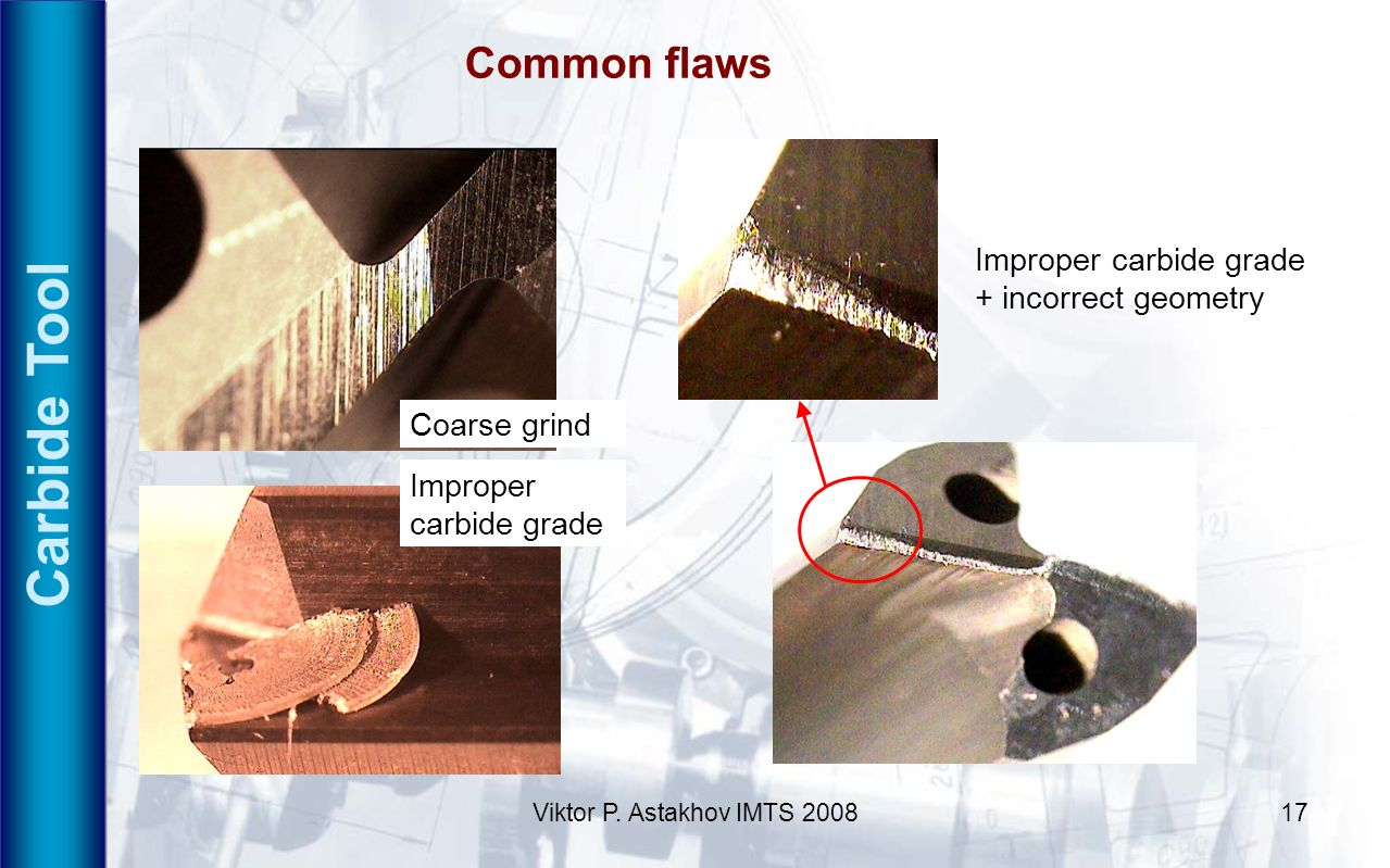 Carbide Tool Common flaws Improper carbide grade + incorrect geometry
