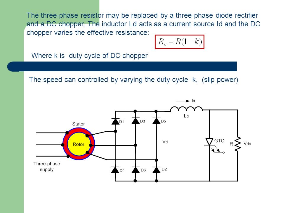 The three-phase resistor may be replaced by a three-phase diode rectifier and a DC chopper. The inductor Ld acts as a current source Id and the DC chopper varies the effective resistance: