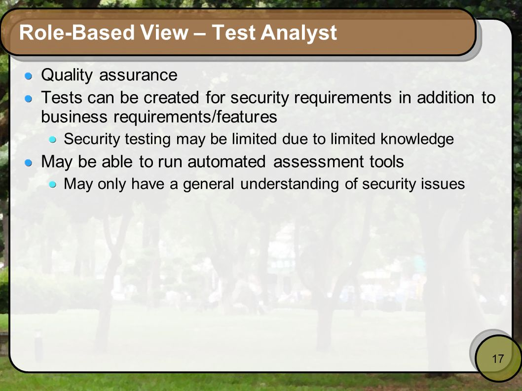 Role-Based View – Test Analyst