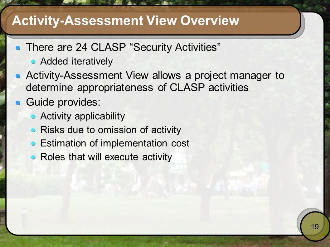 Activity-Assessment View Overview