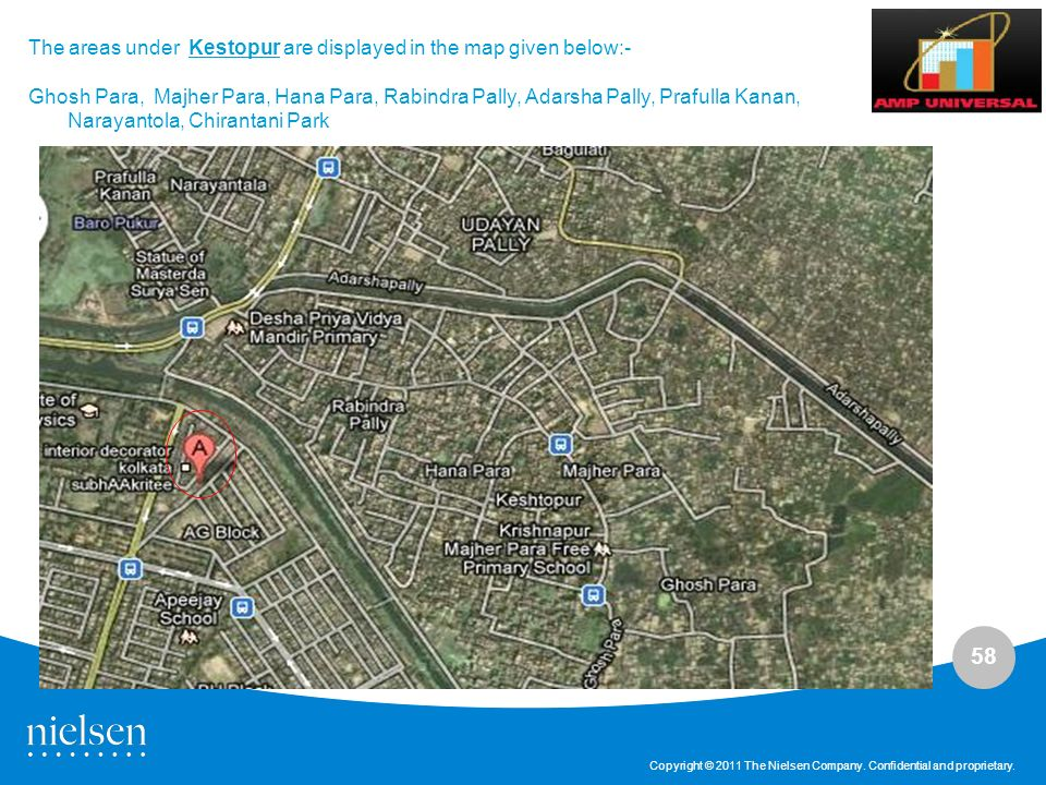The areas under Kestopur are displayed in the map given below:-