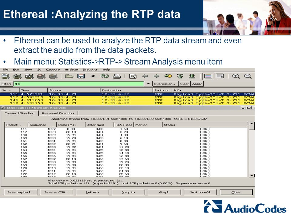 Ethereal :Analyzing the RTP data