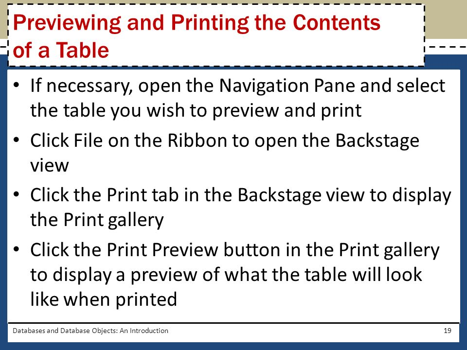 Previewing and Printing the Contents of a Table