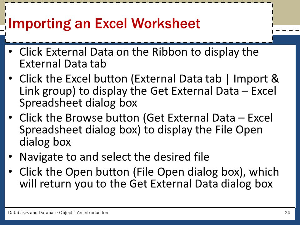 Importing an Excel Worksheet