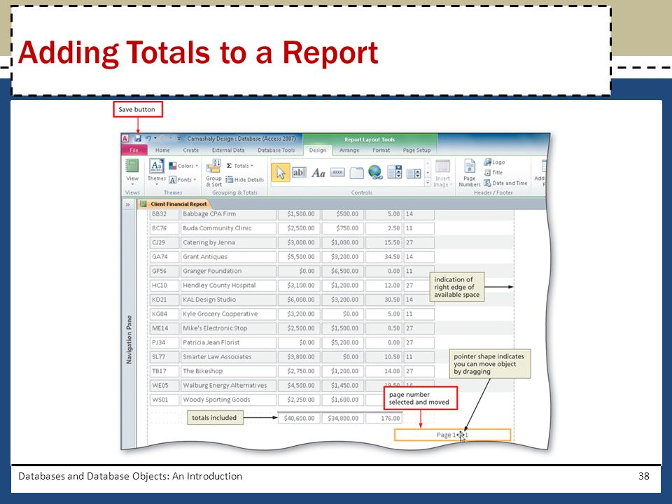 Adding Totals to a Report