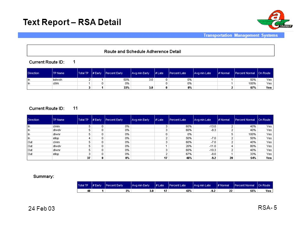 Text Report – RSA Detail