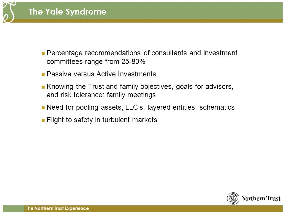 The Yale Syndrome Percentage recommendations of consultants and investment committees range from 25-80%