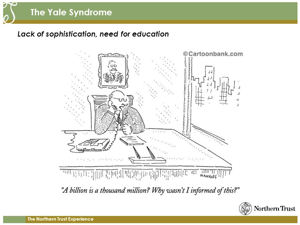 The Yale Syndrome Lack of sophistication, need for education