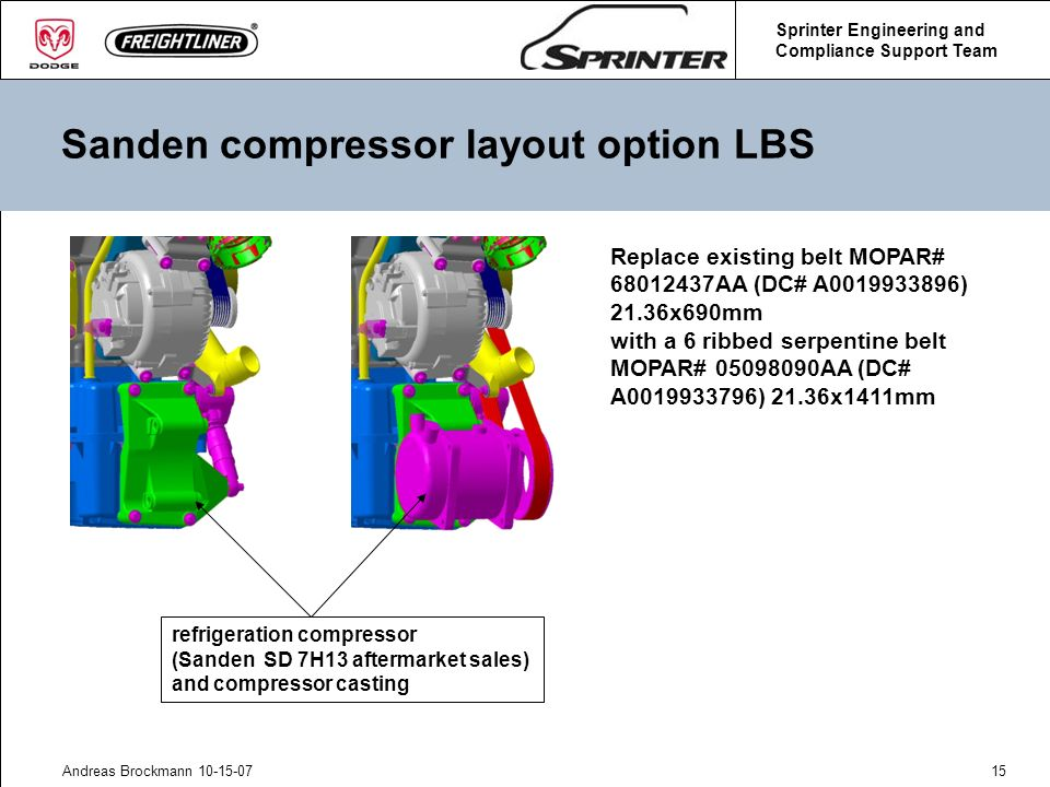 Sanden compressor layout option LBS
