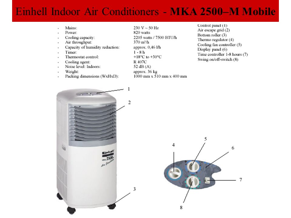 Einhell Indoor Air Conditioners - MKA 2500–M Mobile