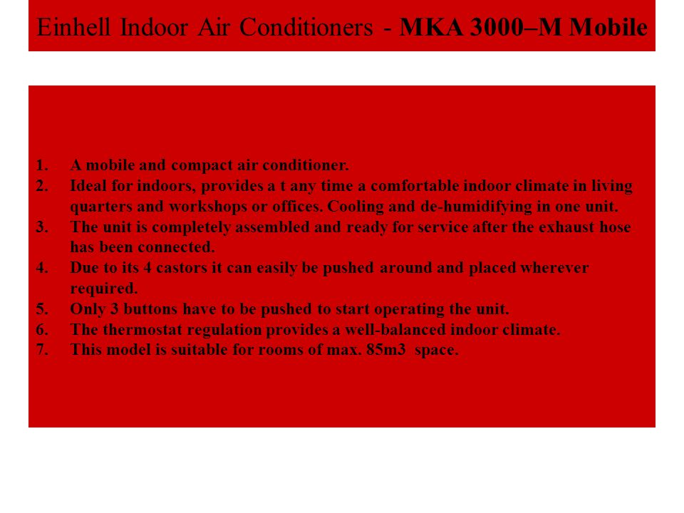 Einhell Indoor Air Conditioners - MKA 3000–M Mobile