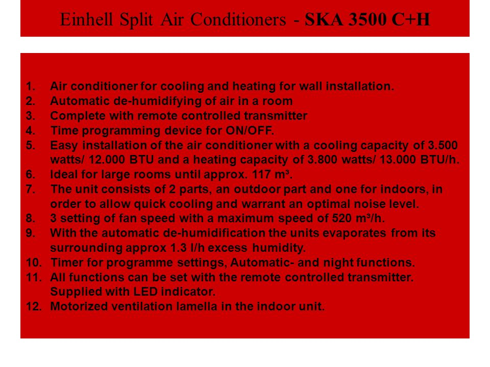 Einhell Split Air Conditioners - SKA 3500 C+H