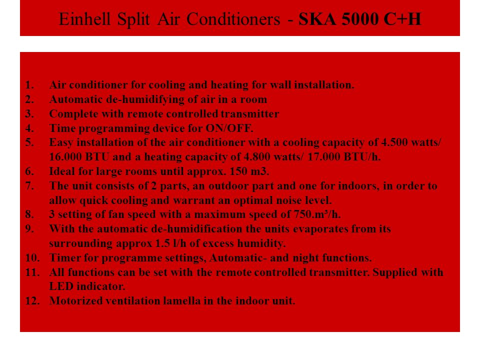 Einhell Split Air Conditioners - SKA 5000 C+H