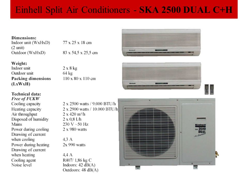 Einhell Split Air Conditioners - SKA 2500 DUAL C+H