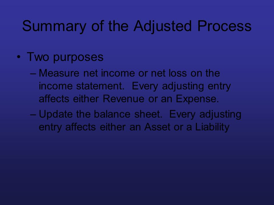 Summary of the Adjusted Process