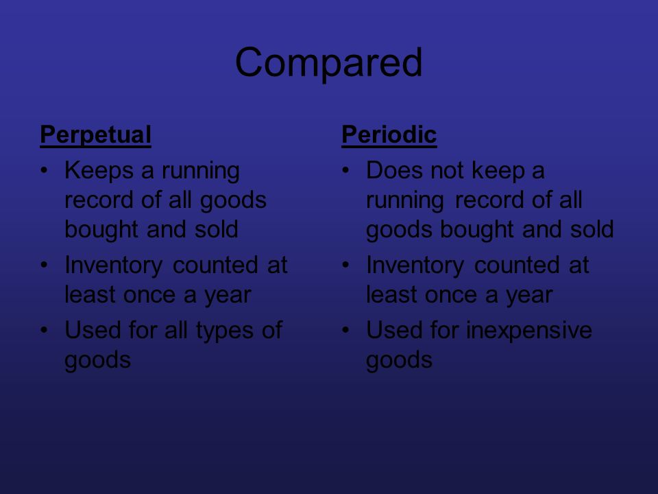 Compared Perpetual Keeps a running record of all goods bought and sold