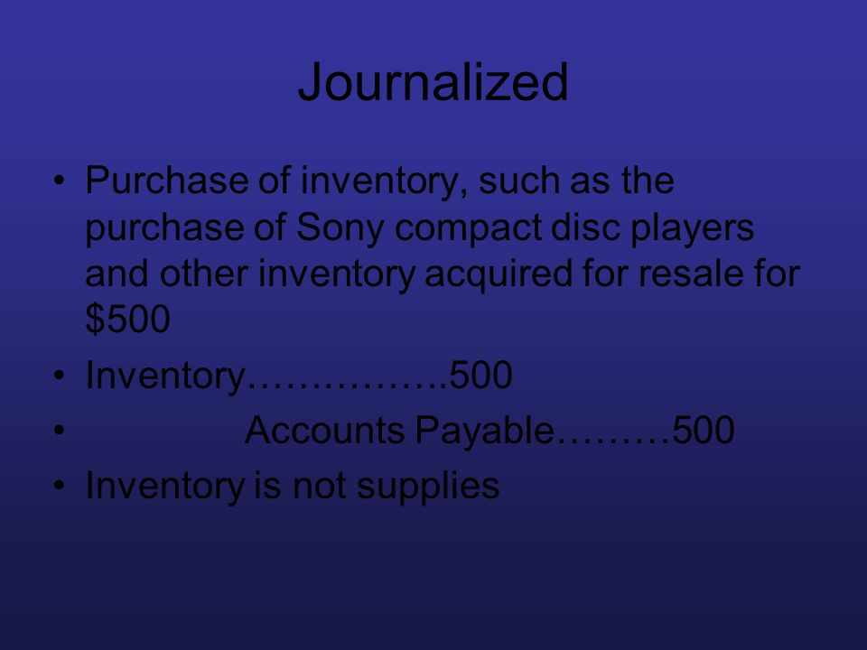 Journalized Purchase of inventory, such as the purchase of Sony compact disc players and other inventory acquired for resale for $500.