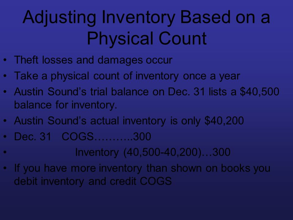 Adjusting Inventory Based on a Physical Count