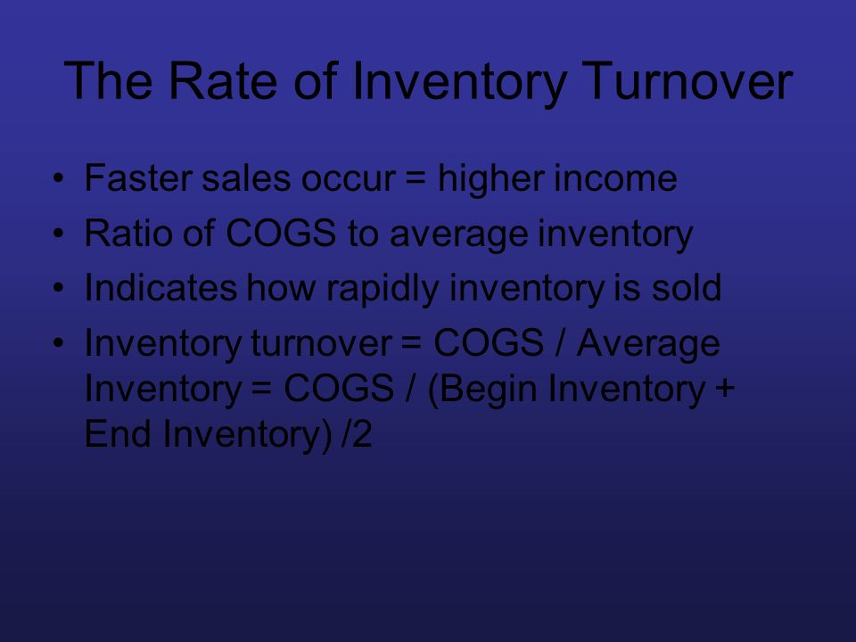 The Rate of Inventory Turnover