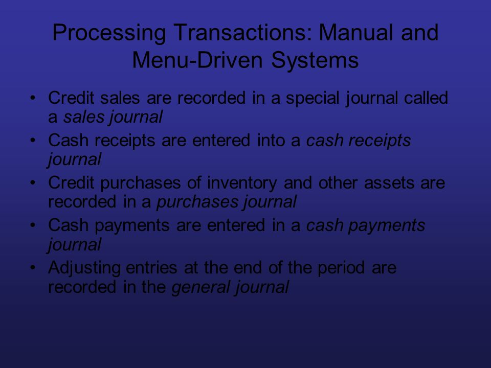 Processing Transactions: Manual and Menu-Driven Systems