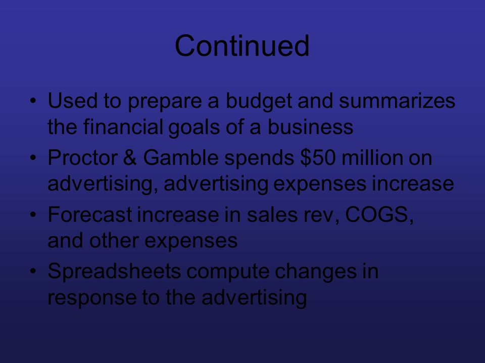 Continued Used to prepare a budget and summarizes the financial goals of a business.