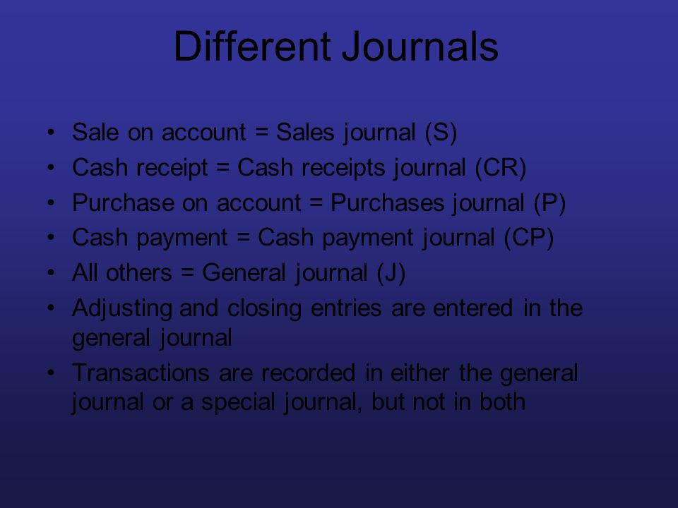 Different Journals Sale on account = Sales journal (S)