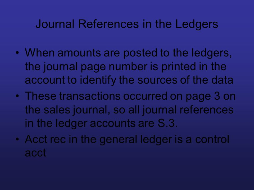 Journal References in the Ledgers
