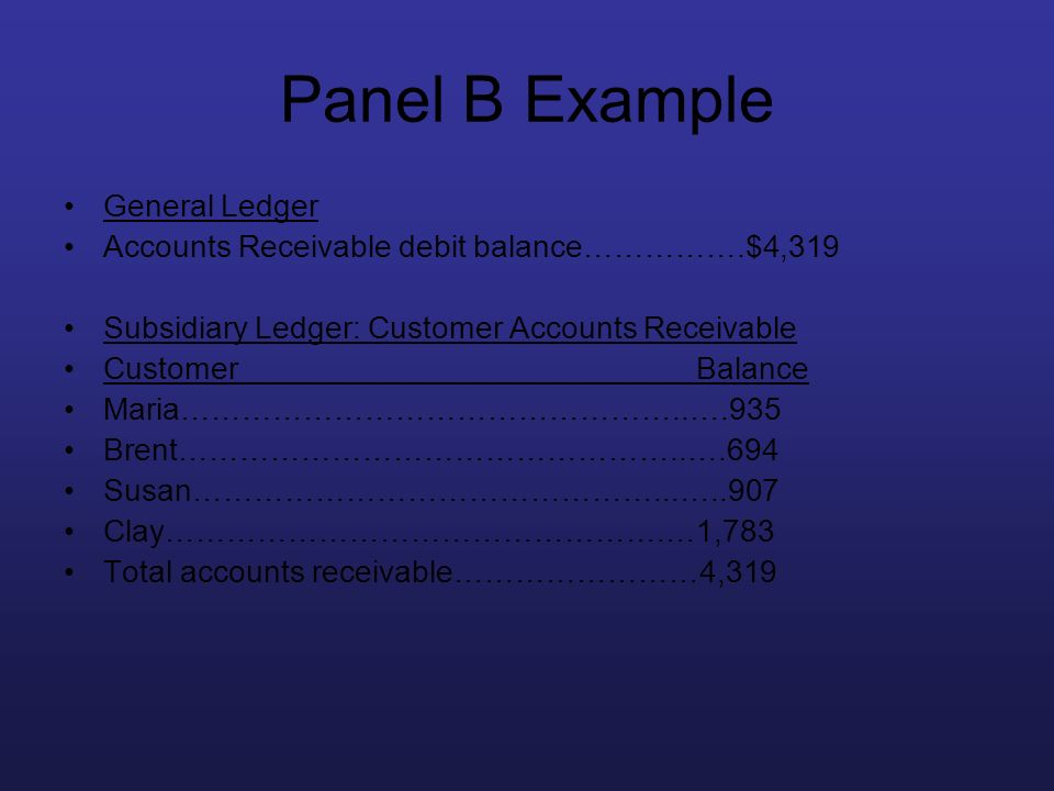 Panel B Example General Ledger