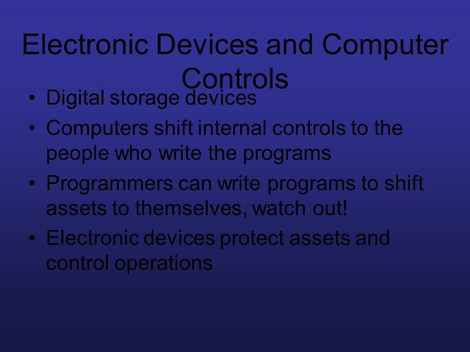 Electronic Devices and Computer Controls