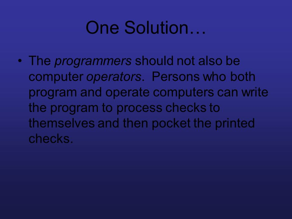 One Solution…