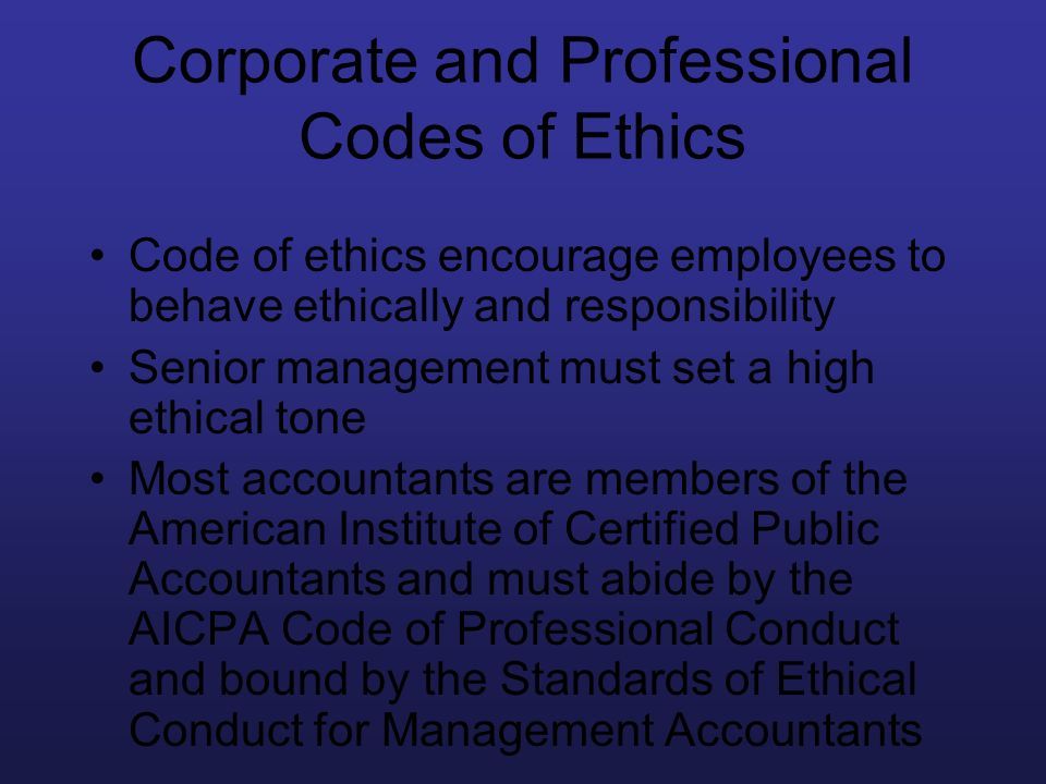 Corporate and Professional Codes of Ethics